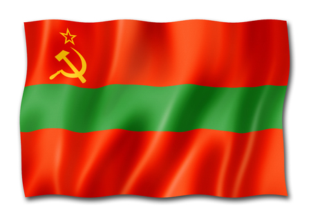 Transnistria State flag, three dimensional render, isolated on white