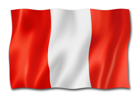 peru flag, three dimensional render, isolated on white
