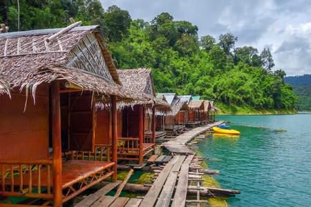 Floating bungalows village in Cheow Lan Lake, Khao Sok, Thailand