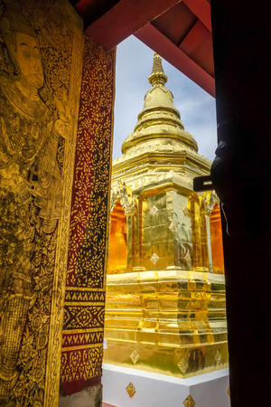 Wat Phra Singh golden stupa in Chiang Mai, Thailand