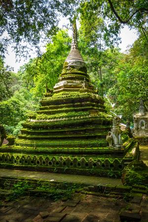 Wat Palad temple stupa in jungle, Chiang Mai, Thailand Banco de Imagens