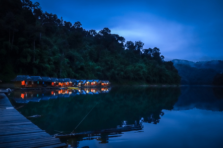 Floating village at night in Cheow Lan Lake, Khao Sok, Thailand