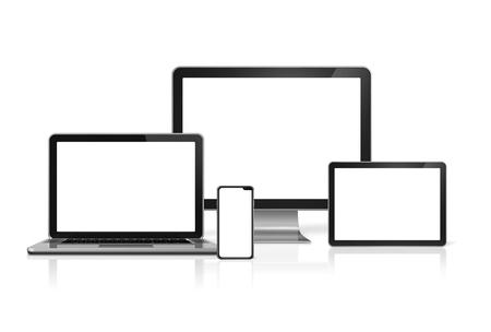 Maquette d'ordinateurs et de téléphones isolés sur fond blanc avec des écrans vierges. rendu 3D