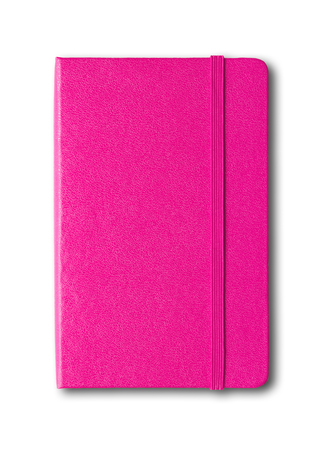 Magenta pink closed notebook mockup isolated on white
