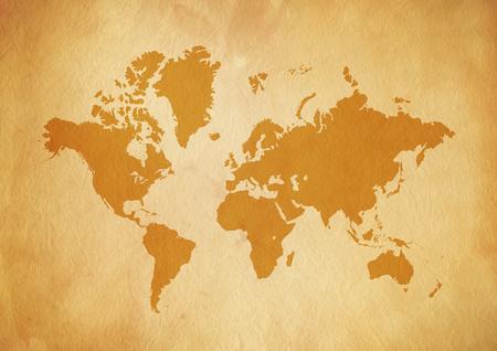 Vintage world map on old parchment paper texture Archivio Fotografico - 121591304