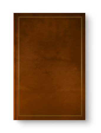 Closed leather blank book mockup with gold frame, isolated on white Banque d'images