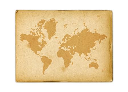 Vintage world map on old parchment paper texture 版權商用圖片