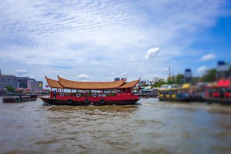 Boats on Chao Phraya River in Bangkok, Thailand