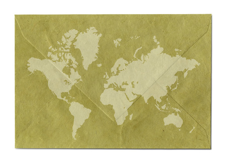 Vintage world map on old paper envelope Archivio Fotografico - 121591417