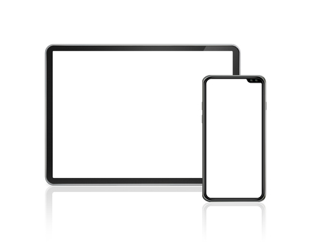 Tablet and smartphone set mockup isolated on white background with blank screens. 3D render