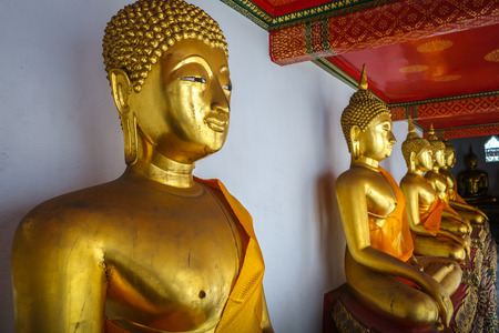 Buddha statues in Wat Pho Buddhist temple, Bangkok, Thailand Stock Photo