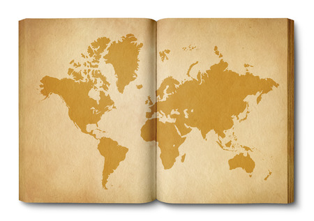 Vintage world map printed on an old open book Archivio Fotografico - 123340179