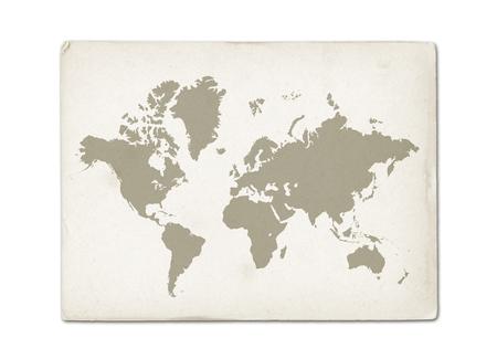 Vintage world map on old parchment paper texture Archivio Fotografico - 123340196
