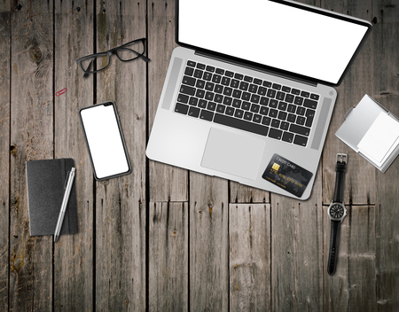 Vintage wooden office desk mockup top view Stock Photo