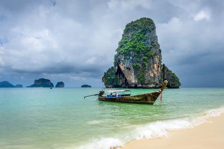 Long tail boat on Phra Nang Beach in Krabi, Thailand