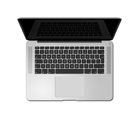 Open laptop top view with black screen, isolated on white. 3D render illustration
