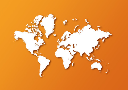 Detailed world map isolated on orange background with shadows Stok Fotoğraf