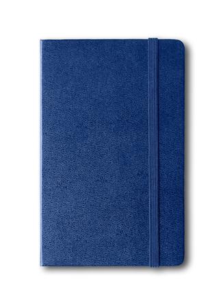 Marine blue closed notebook mockup isolated on white Stock Photo