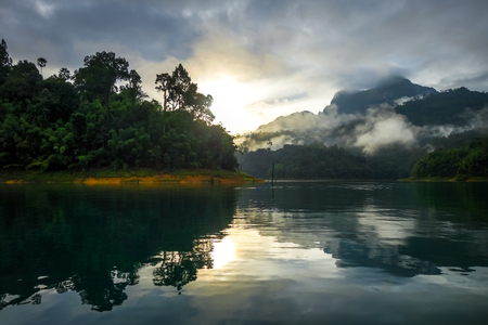 Sunrise on Cheow Lan Lake in Khao Sok National Park, Thailand