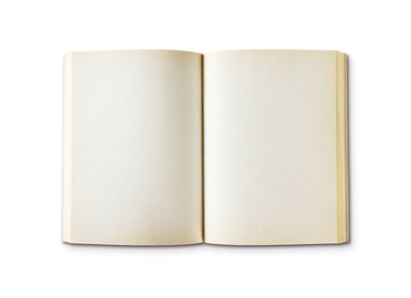 Old open blank book mockup, isolated on white. Top view
