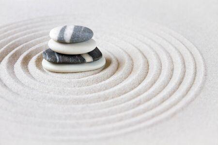 Black and white stones in the sand. Zen japanese garden background scene Stock fotó - 124989206