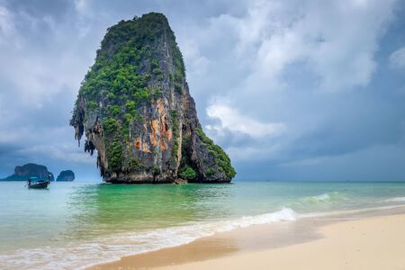 Phra Nang Beach and limestone cliffs in Krabi, Thailand