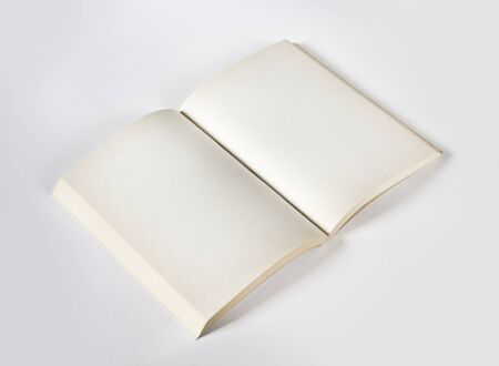 Old open blank book mockup, isolated on grey. Top view Stock fotó