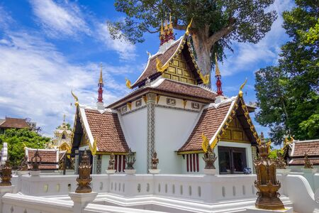 Wat Chedi Luang temple buildings in Chiang Mai, Thailand