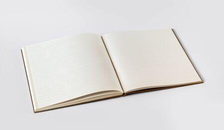 Open blank notebook mockup, isolated on grey Stock fotó