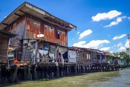 Traditional old houses on Khlong, Bangkok, Thailand