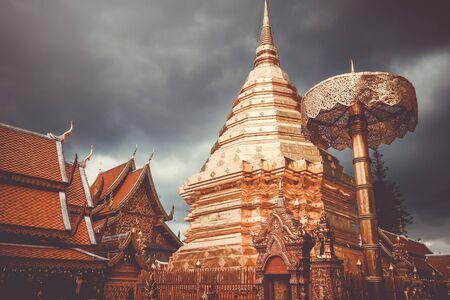 Wat Phra that Doi Suthep golden stupa in Chiang Mai, Thailand