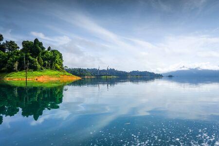 Morning mist on Cheow Lan Lake, Khao Sok National Park, Thailand Stock fotó