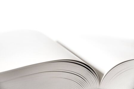 Open blank dictionary, book mockup on white background