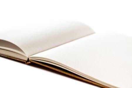 Open blank notebook mockup closeup view