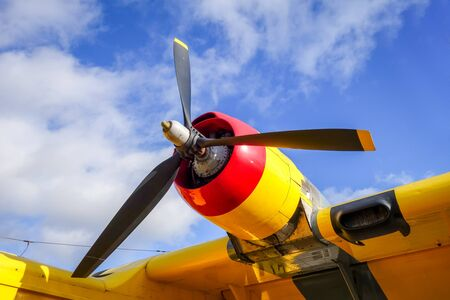Old colorful airplane engine and propeller detail
