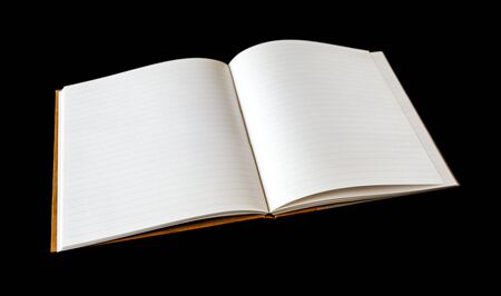 Open blank notebook mockup, isolated on black