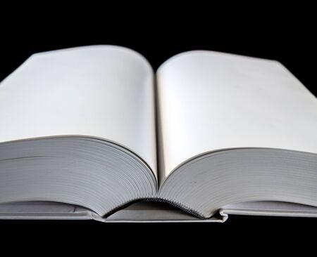 Open blank dictionary, book mockup, black background Stock fotó