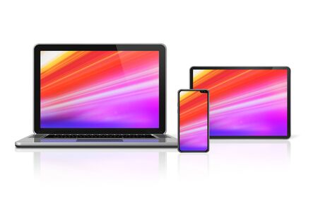Laptop, tablet and phone set mockup isolated on white background with colorful screens. 3D render