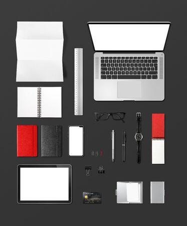 Office desk branding mockup top view isolated on black. Blank space Stock fotó