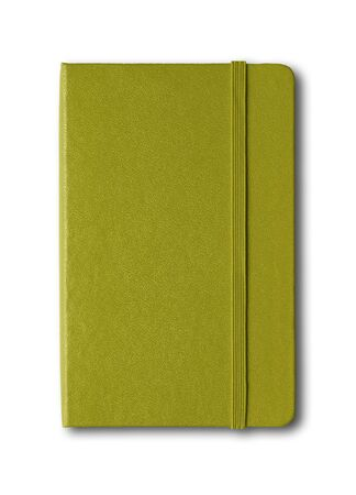 Olive green closed notebook mockup isolated on white Stock fotó