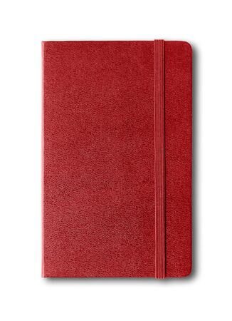 Dark red closed notebook mockup isolated on white Stock fotó