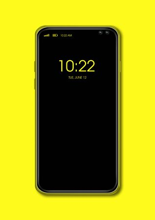 All-screen digital black smartphone mockup isolated on yellow. 3D render