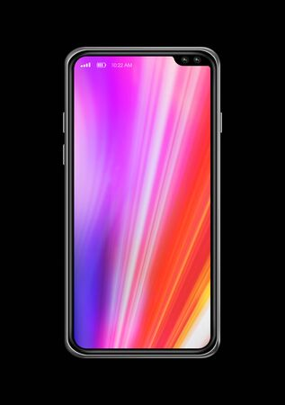 All-screen digital colorful blank smartphone mockup isolated on black. 3D render
