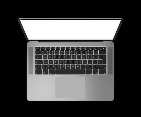 Open laptop top view with blank screen, isolated on black. Dark silver. 3D render illustration Stock fotó