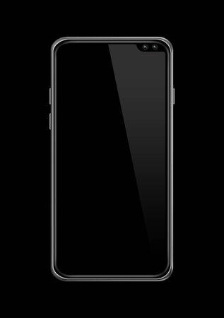 All-screen blank smartphone mockup isolated on black. 3D render Stock fotó
