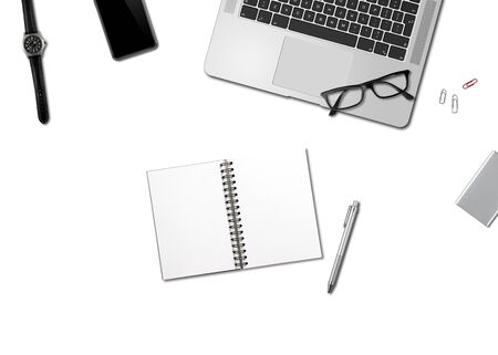 Modern office desk mockup top view isolated on white Stock fotó
