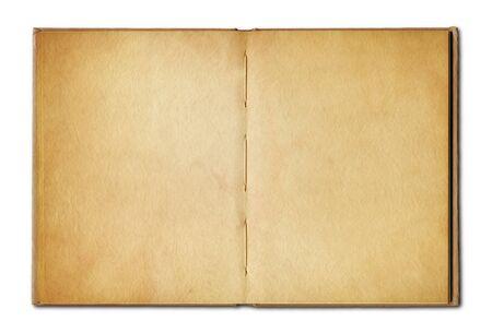 Oud uitstekend open boek dat op witte achtergrond wordt geïsoleerd Stockfoto