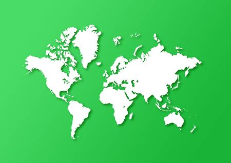 Detailed world map isolated on a green background with shadows Foto de archivo