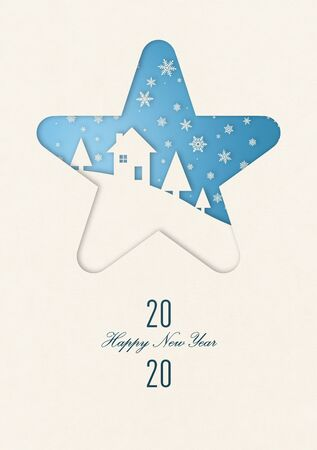 Vintage winter Happy new year card with a house under snowflakes in star frame