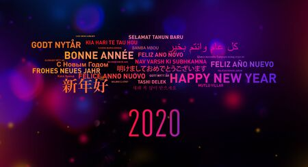 2020 Happy new year greetings card from the world in different langages
